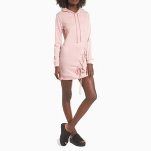 NWT DEE ELLY | PINK LACE UP HOODIE DRESS